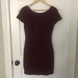 Burgundy knit dress with capped sleeves